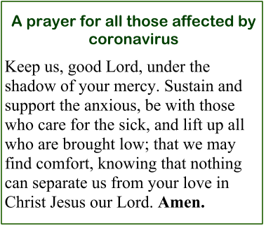 A prayer for all those affected by coronavirus Keep us, good Lord, under the shadow of your mercy. Sustain and support the anxious, be with those who care for the sick, and lift up all who are brought low; that we may find comfort, knowing that nothing can separate us from your love in Christ Jesus our Lord. Amen.